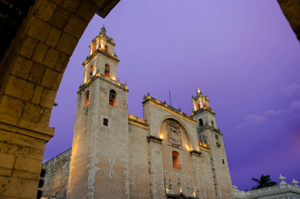 San Ildefonso Cathedral in Merida Mexico stock photo