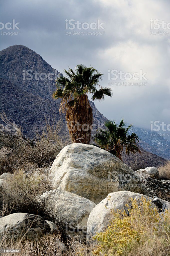 The cloudy, partially snow covered tops of the San Jacinto...