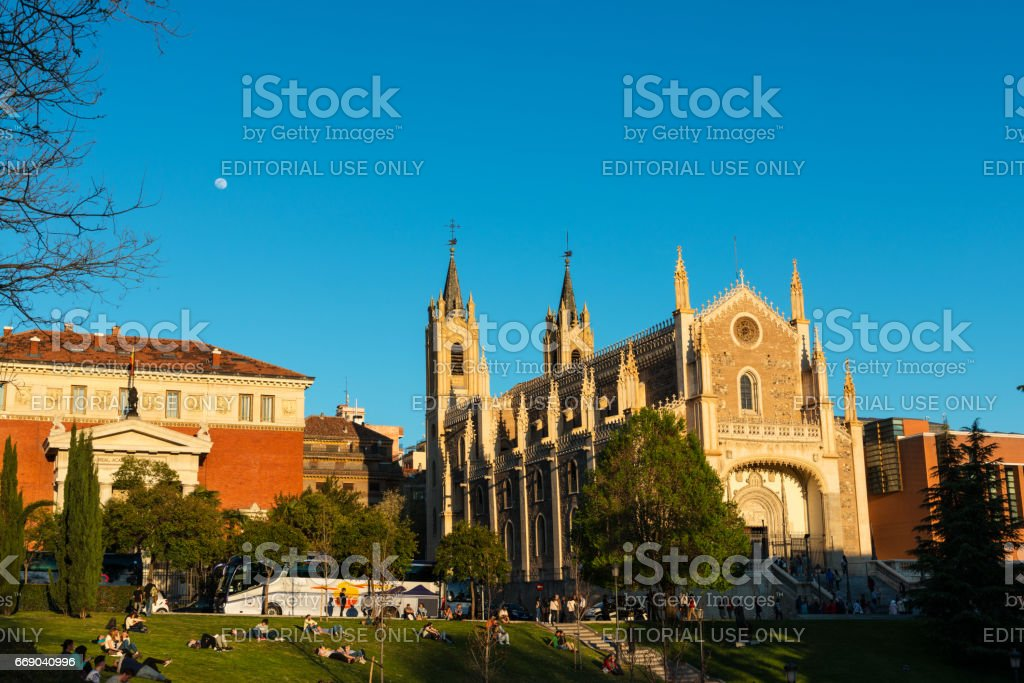 San Jeronimo Church near el Prado Museum in Madrid stock photo