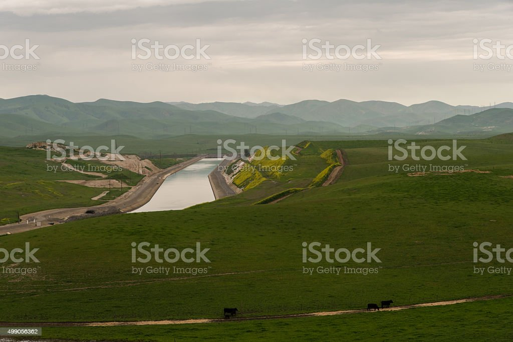 San Joaquin Valley in early spring stock photo