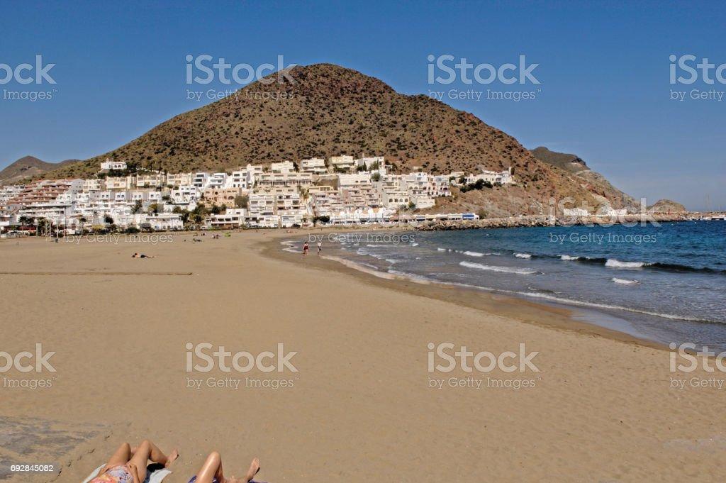 San Jose beach in the Cabo de Gata, Natural Parck, Almeria province, Andalusia, Spain stock photo