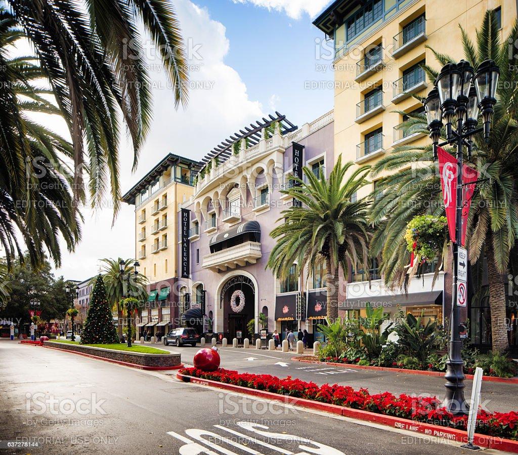 San Jose Santana Row Hotel Valencia Christmas Decorated