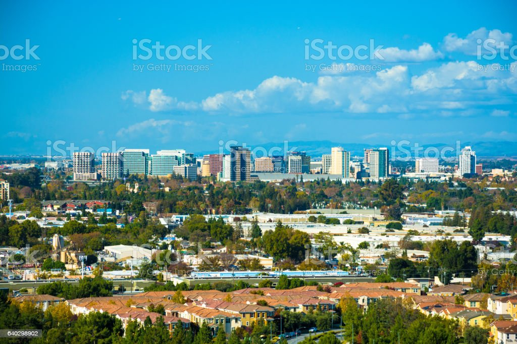 San Jose Skyline Vista, Elevated View stock photo