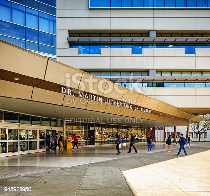istock San Jose state university Martin Luther King library building entrance 945925950