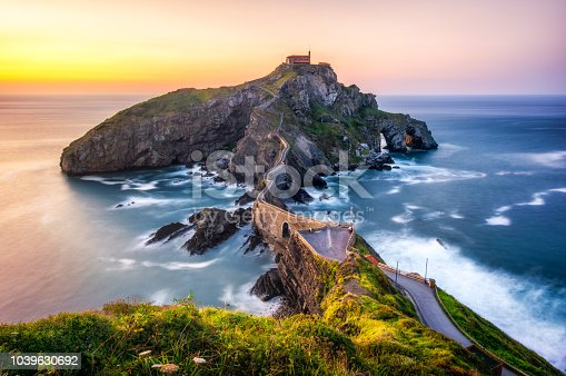 Long exposure in San Juan the Gaztelugatxe at sunset.