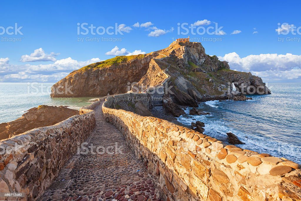 San Juan de Gaztelugatxe on a sunny day stock photo
