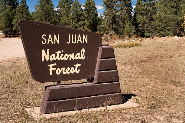 San Juan National Forest Sign stock photo