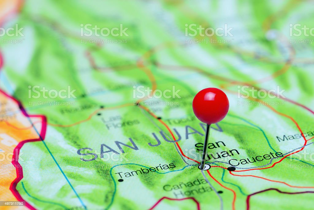 San Juan pinned on a map of Argentina stock photo