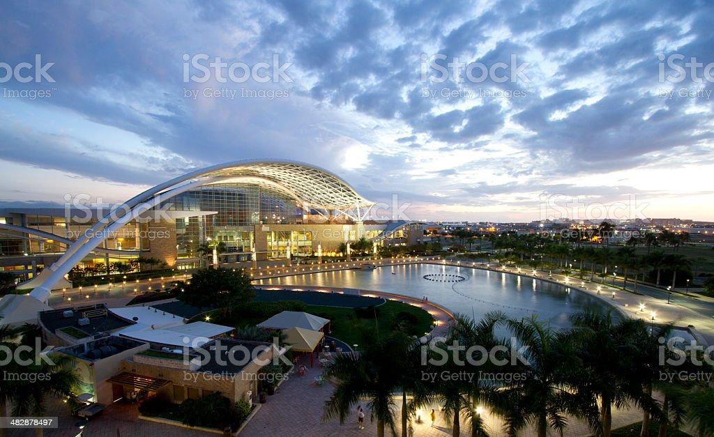 San Juan Puerto Rico Convention Center at Twilight WS stock photo