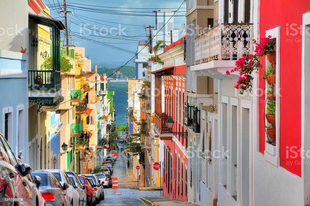San Juan streetview Beautiful typical traditional vibrant street in San Juan, Puerto Rico Architecture Stock Photo