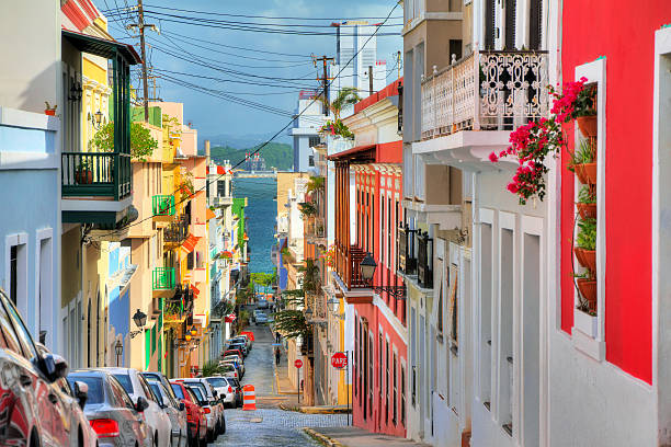 san juan streetview - caribbean culture stock pictures, royalty-free photos & images