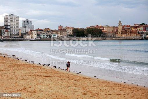 istock San Lorenzo beach in Gijón, Spain 1305428621
