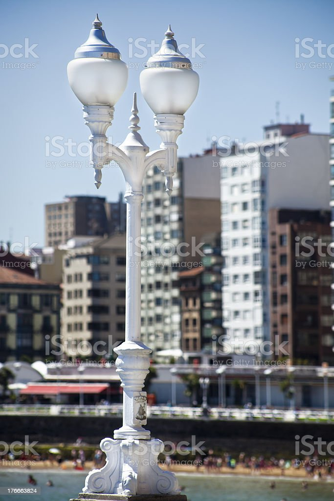 San Lorenzo beach in Gijón, Spain royalty-free stock photo