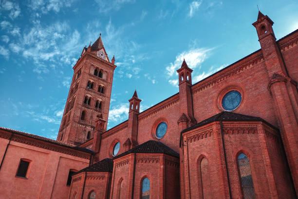 San Lorenzo Cathedral (aka Duomo) under blue sky in Alba, Piedmont, Italy. stock photo