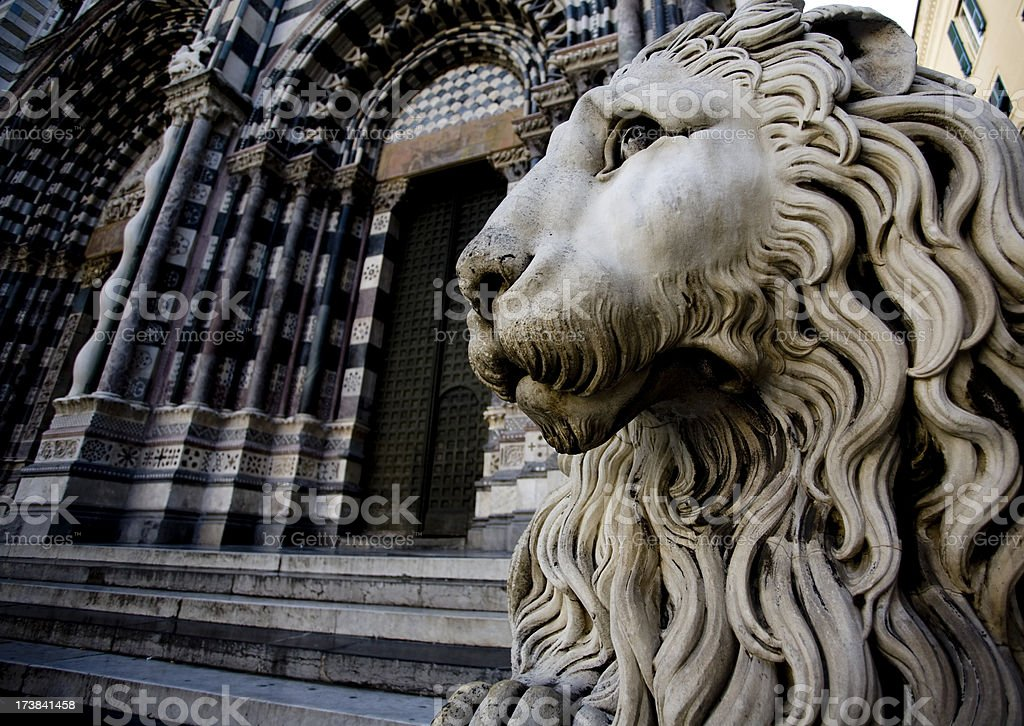 San Lorenzo cathedral's  lion royalty-free stock photo