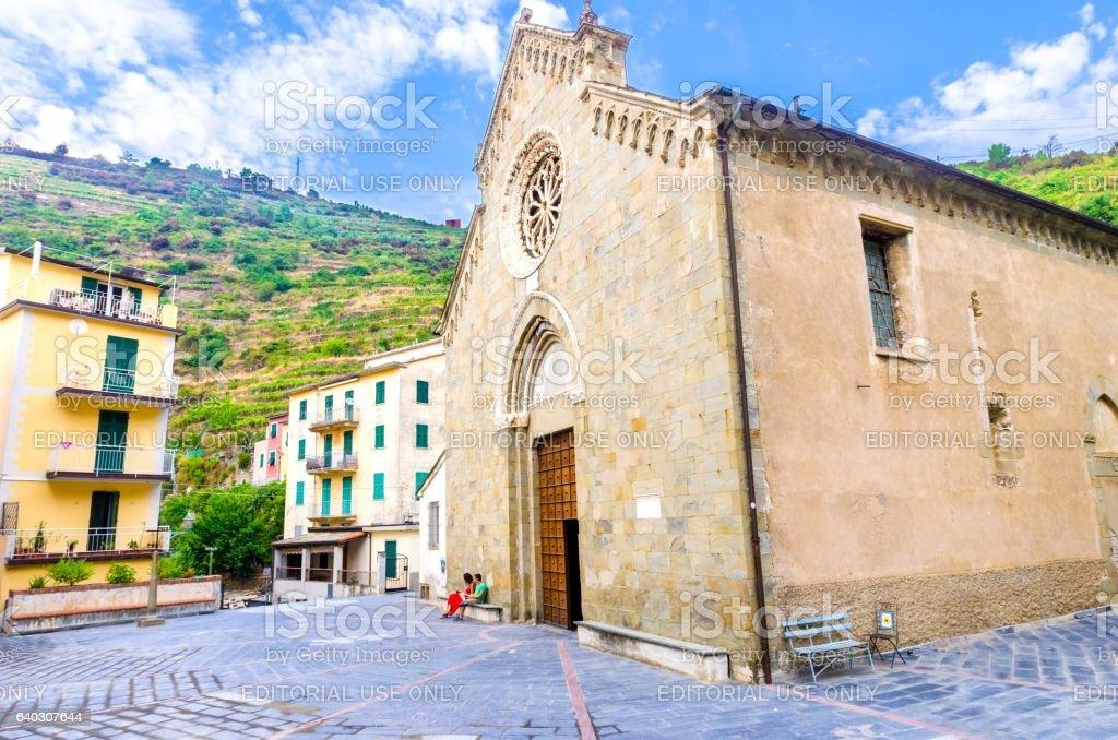 San Lorenzo church, Manarola, Cinque Terre, Italy stock photo