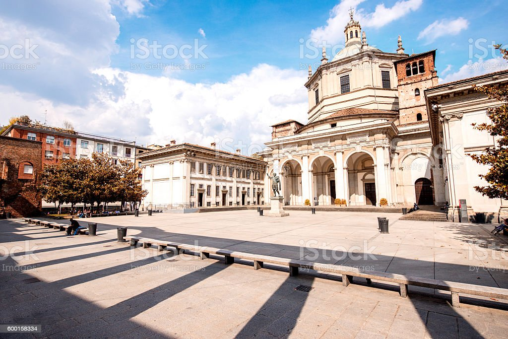 San Lorenzo Maggiore basilica in Milan city stock photo