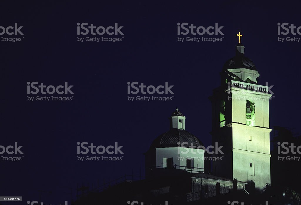 San Lorenzo Steeple at Night, Portovenere, Italy stock photo
