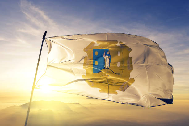 San Luis Potosi state of Mexico flag textile cloth fabric waving on the top sunrise mist fog San Luis Potosi state of Mexico flag on flagpole textile cloth fabric waving on the top sunrise mist fog san luis potosi stock pictures, royalty-free photos & images