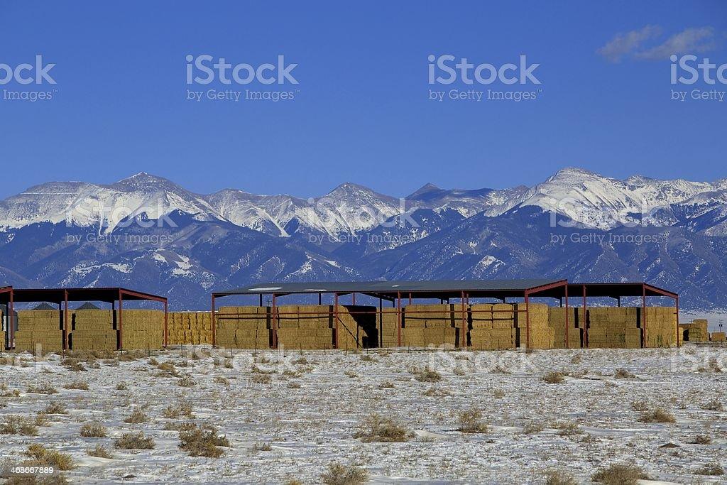 San Luis Valley Farm Winter Wide stock photo