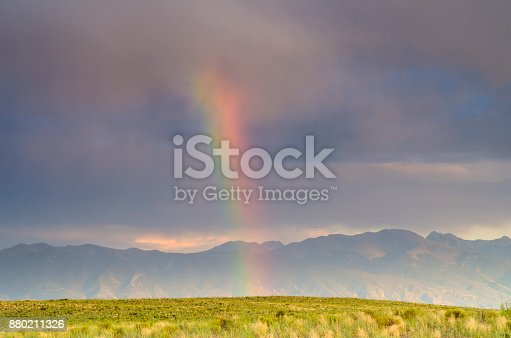 Refracted light over the upper San Luis Valley with the Sangre de Cristo Mountains in the background. Southern Colorado.