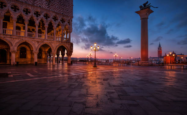 San Marco in Venice, Italy at the sunrise stock photo