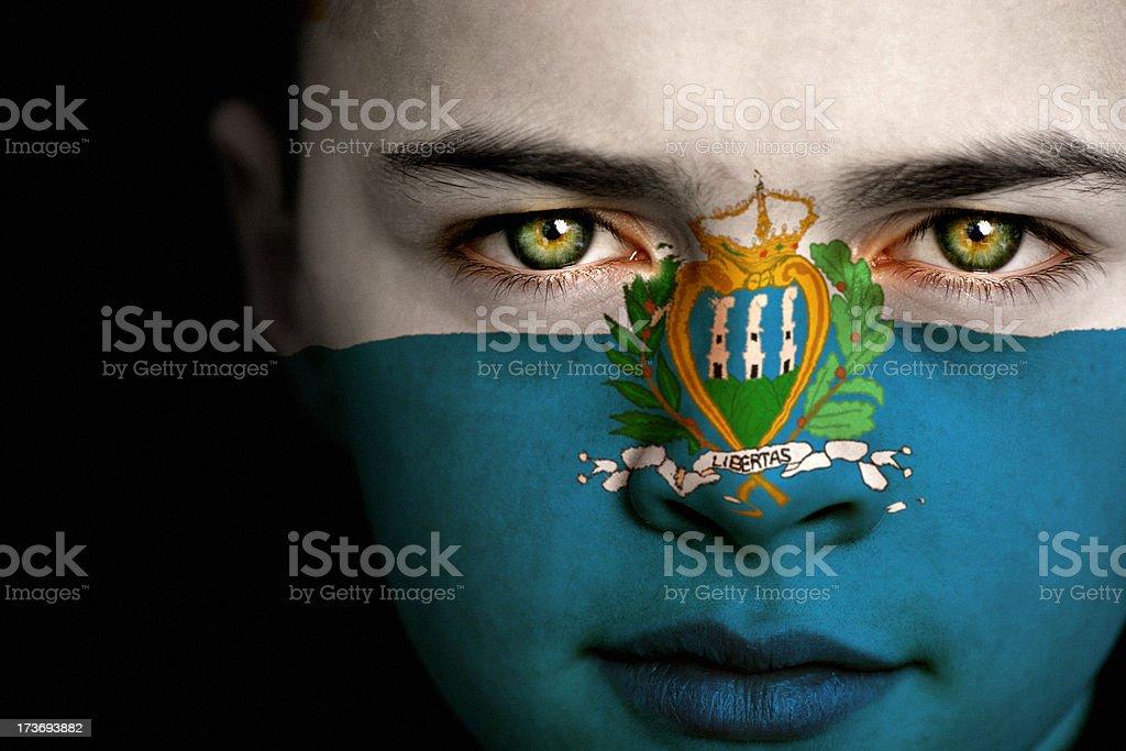 San Marino flag boy royalty-free stock photo