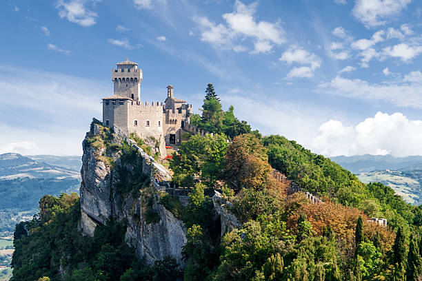 san marino second tower: the cesta or fratta - castle stock pictures, royalty-free photos & images