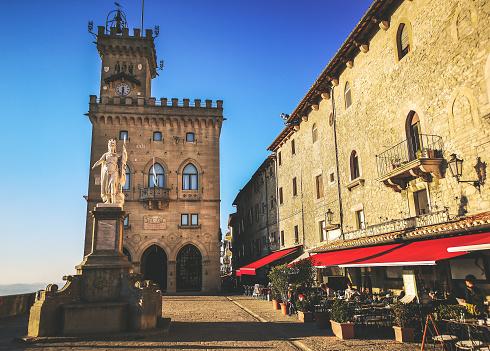 San Marino square of Palazzo Pubblico and Piazza della Libertà - Republic of San Marino State