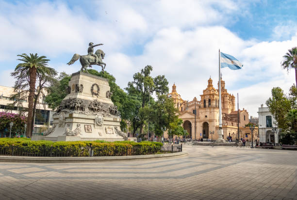 San Martin Square and Cordoba Cathedral - Cordoba, Argentina stock photo