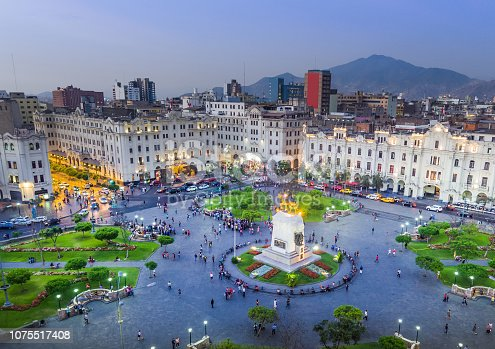 LIMA, PERU: Panoramic view of San Martin square.