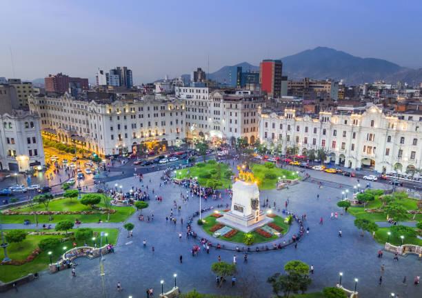 San Martin Square, in Lima, Peru. LIMA, PERU: Panoramic view of San Martin square. town square stock pictures, royalty-free photos & images