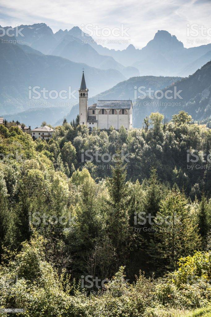 San Martino church's, Valle di Cadore, Italy stock photo