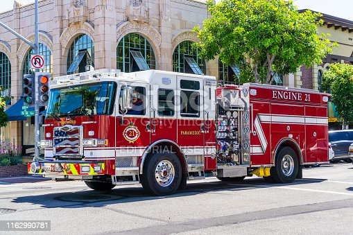 July 14, 2019 San Mateo / CA / USA - San Mateo Fire Department vehicle travelling through the city; San Francisco bay area