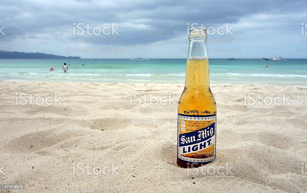 San Mig Light on the beach stock photo