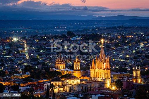 San Miguel de Allende at dusk, Guanajuato, Mexico.