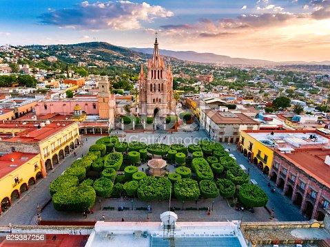 Aerial View of San Miguel de Allende in Mexico.