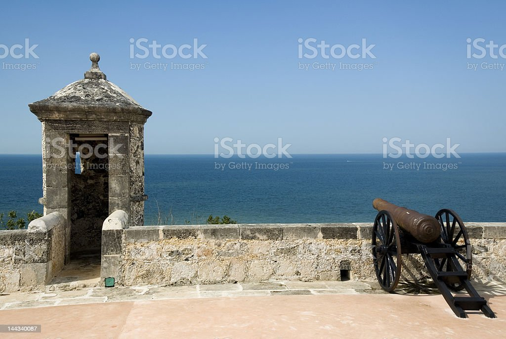 San miguel fort with old cannon and control tower Campeche stock photo
