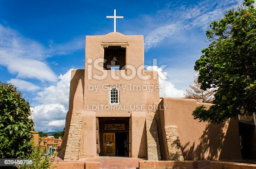 Santa Fe, United States - July 30, 2015: San Miguel Mission chapel church, the oldest in the United States, decorated in adobe pueblan style