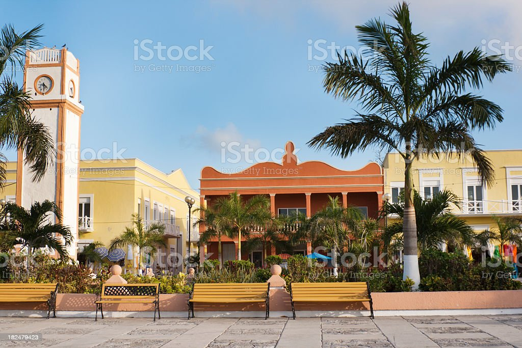 San Miguel Plaza del Sol Clock Tower, Cozumel, Yucatan, Mexico royalty-free stock photo