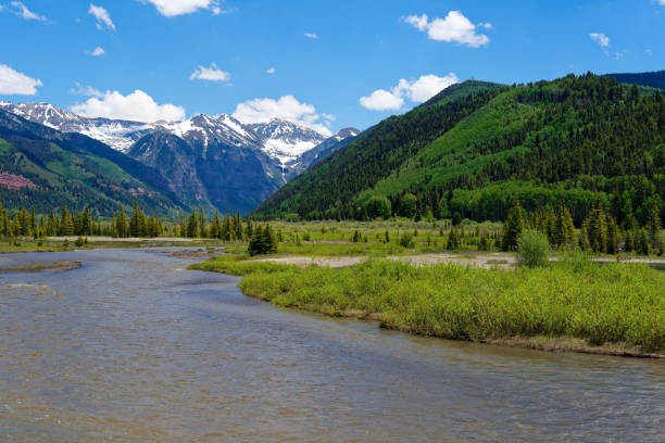 San Miguel River near Telluride, Colorado stock photo