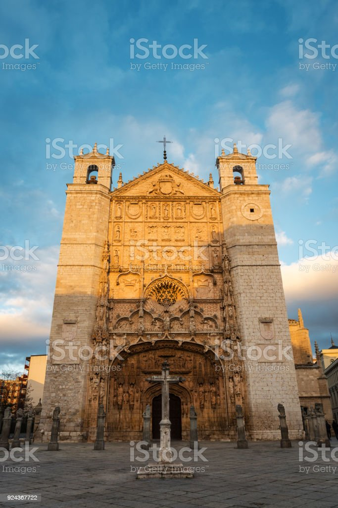 San Pablo Church in Valladolid at dusk stock photo