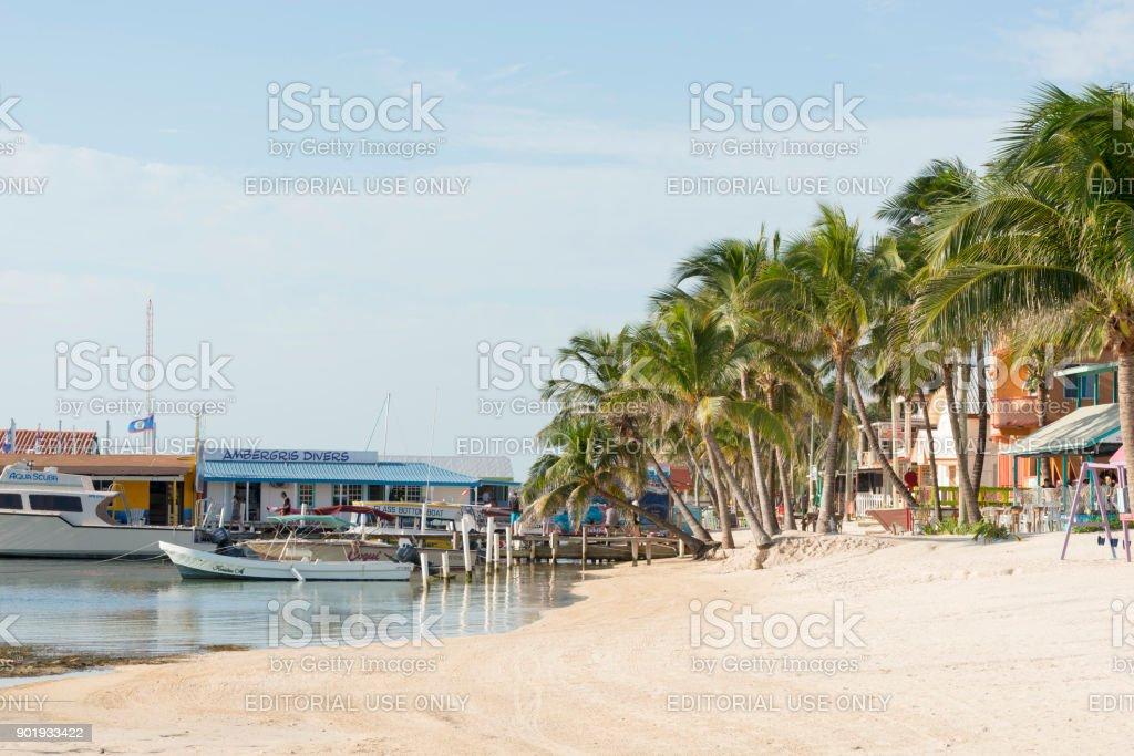 San Pedro Beach On Ambergris Caye stock photo