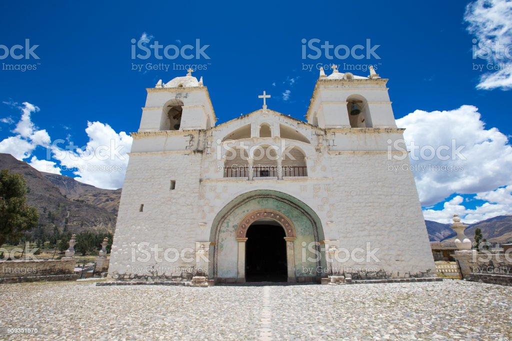 San Pedro de Alcantara Church in Cabanaconde, Peru stock photo