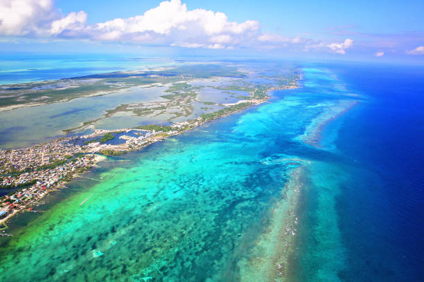 San Pedro town, Ambergris Caye, Belize, Barierr Reef, Caribbean Sea stock photo