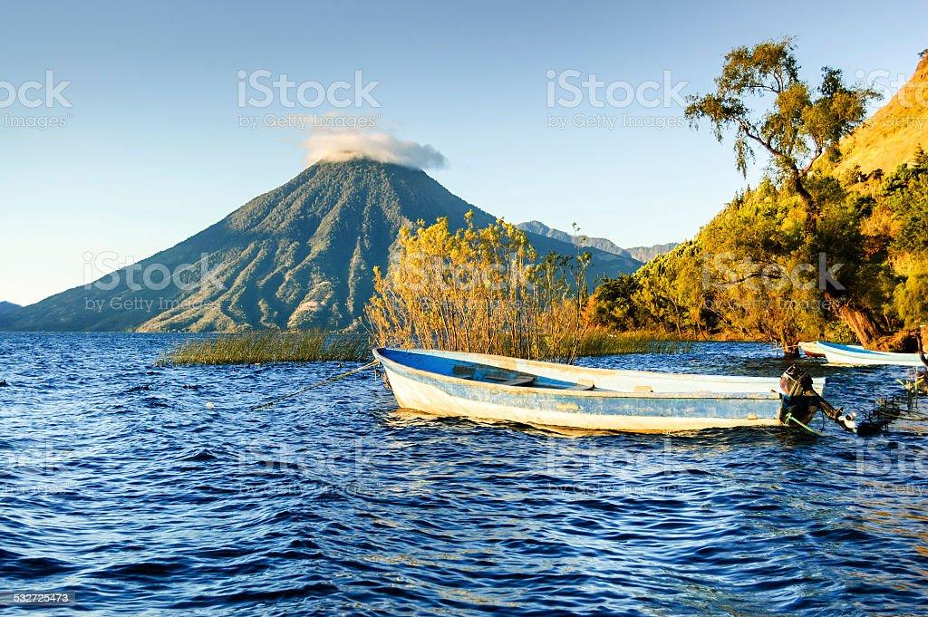 San Pedro Volcano on Lake Atitlan in Guatemalan highlands stock photo