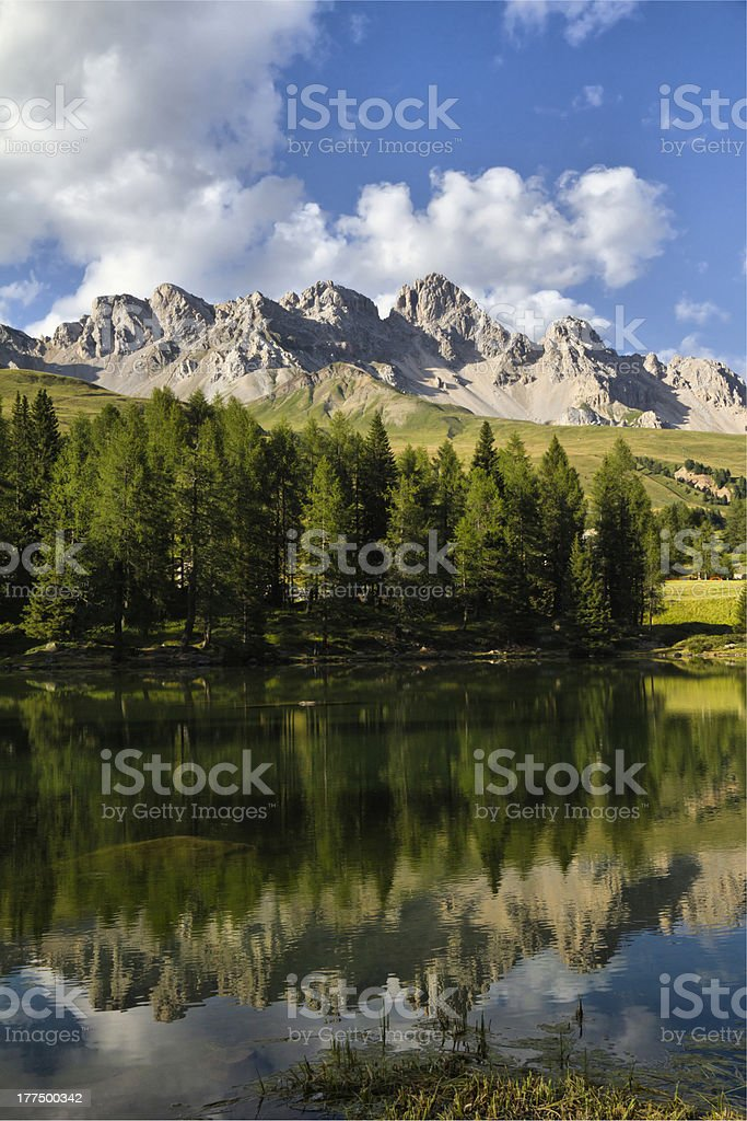 San Pellegrino Lake - Costabella Mountains in summer time stock photo