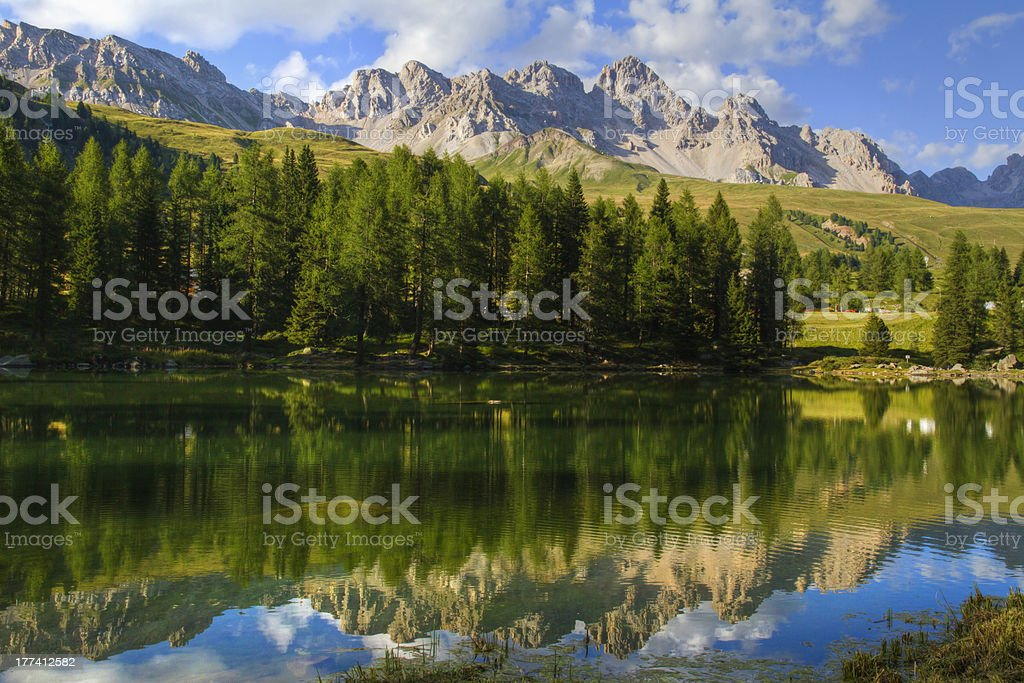 San Pellegrino Lake Dolomites - Costabella Mountains in summer time stock photo