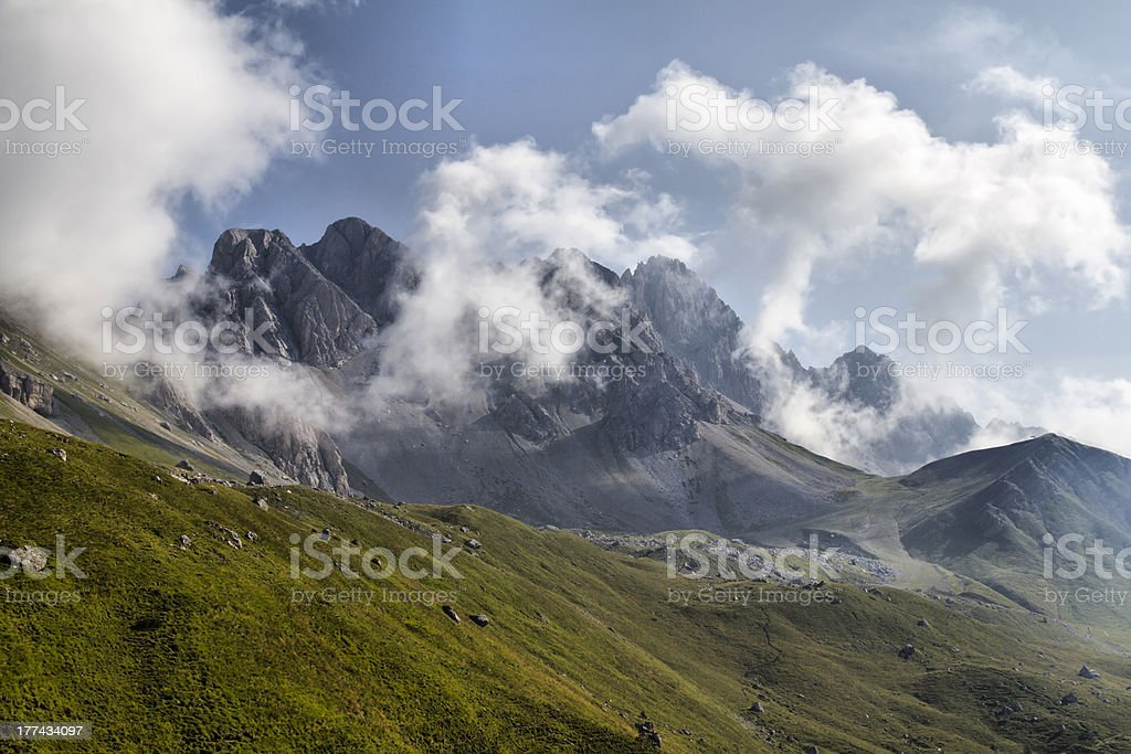 San Pellegrino Pass Dolomites - Costabella Mountains in summer time stock photo