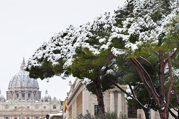 San Peter basilica in winter, Vatican. stock photo
